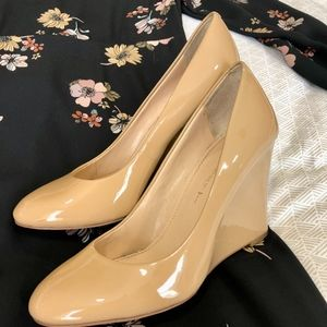 Nude Patent Leather Wedge